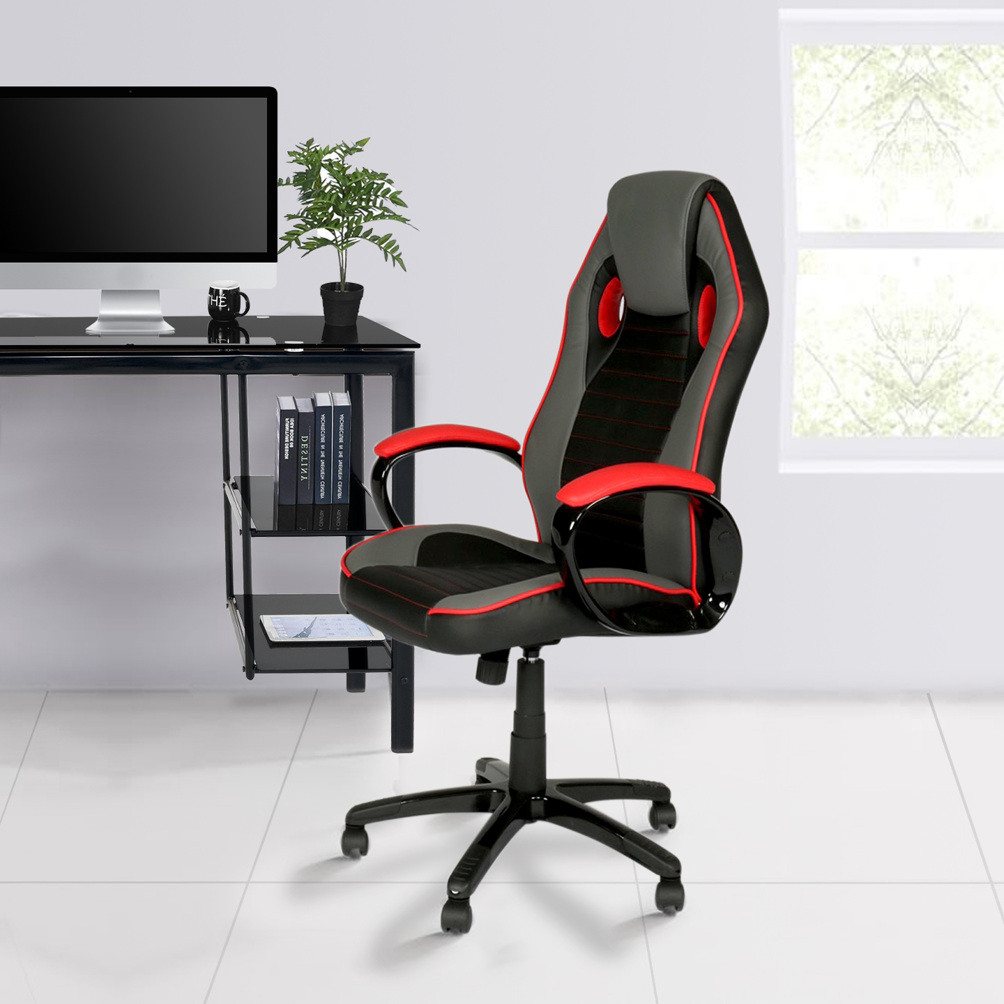 Miraculous Indus Office Chair Black With Grey And Red Accents Living Gmtry Best Dining Table And Chair Ideas Images Gmtryco